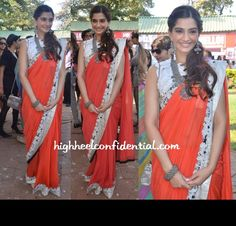 Sonam in anamika-khanna Bollywood Saree, Bollywood Fashion, Anamika Khanna, Stylish Sarees, Kareena Kapoor Khan, Madhuri Dixit, Jacqueline Fernandez, Indian Actresses, Indian Fashion