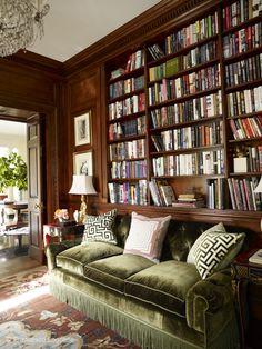 Bookcases recessed into the paneling. Ooo la la. Design by Miles Redd. Photo: Francesco Lagnese