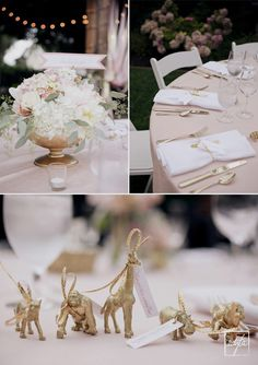 pink gold table setting, gold animal favors