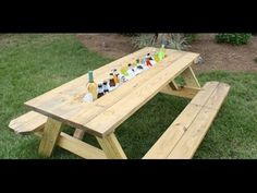 How to create a DIY, hidden-compartment drink trough in a picnic table.