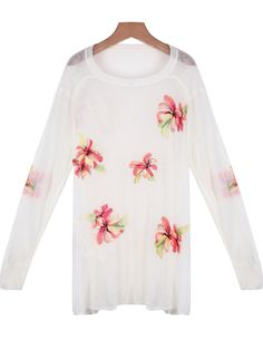 White Long Sleeve Hollow Floral Knit Sweater - Sheinside.com