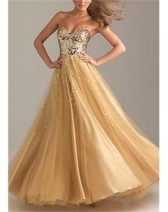 Gold sequins long dress