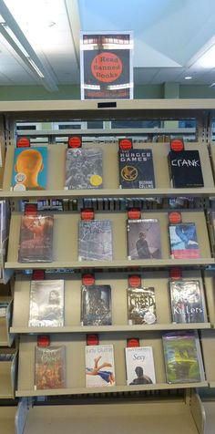 Banned Books Week 2014 book display at the Temecula Public Library Teen Zone.