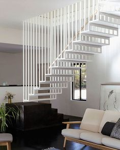 Completed in 2016 in Blackheath, Australia. Images by Jonathon Donnelly. Hideaway House is a place of retreat, designed for a couple who have swapped the city for quiet. Located in Sydney's Blue Mountains, the site is. Wood Staircase, Staircase Design, Metal Stairs, Sydney, Contemporary Barn, Minimal Bedroom, Attic Spaces, Japanese Interior, Blue Mountain