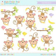 This adorable Girl Monkeys Clip Art set is just too cute! Complete with several monkeys, bananas and birds. They love to monkey around! Boy