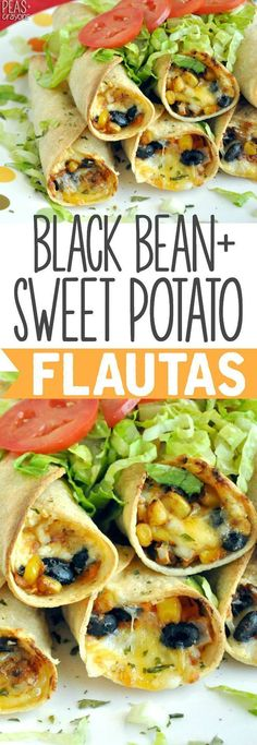 BAKED- Black Bean and Sweet Potato Flautas :: my entire family loves this tasty vegetarian recipe! (Adjust cheese)