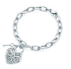 Tiffany & Co Filigree Heart Tag Bracelet With Key