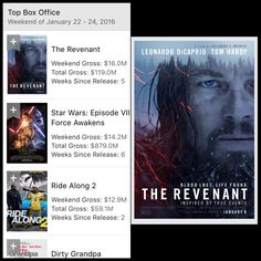 The Revenant is the #1 movie in America !!! I'm so glad the movie was Fantastic !!! The Revenant.