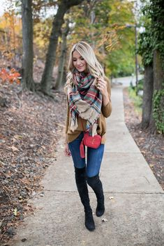Plaid Blanket Scarf, Sweater, Jeans, Over The Knee Boots and The Perfect Holiday Bag