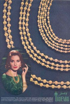 """1962 - TRIFARI - ADS - """"Electra Collection"""" - From the Electra Collections ..."""