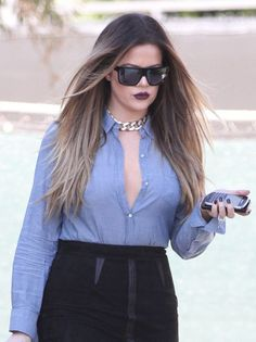 super dark lipstick + hair color on Khloe Kardashian