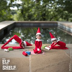Namaste, friends! These scout elves were discovered practicing their morning yoga poses! | Elf on the Shelf Ideas