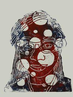 Self portrait, linoleum block print #shemekat