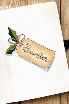 December Bullet Journal, Bullet Journal Cover Page, Bullet Journal Writing, Bullet Journal Ideas Pages, Journal Covers, Bullet Journal Inspiration, Christmas Journal, Christmas Doodles, Christmas Drawing