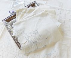 Vintage White and Pale Sky Blue Embrodiered by RosebudsOriginals, $29.95