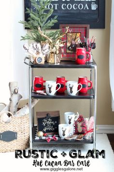 Rustic + Glam Hot Cocoa Bar Cart | Giggles Galore