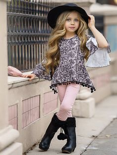 Ruffled boho-chic sleeves will make her feel like the little fashionista she is in this trendy pom pom tunic. Pair it with any bottom for a precious, put-together look!  Hand wash cold; hang dry Imported Girls Winter Outfits, Kids Winter Fashion, Little Girl Outfits, Kids Outfits, Kids Fashion, Fashionista Kids, Girl Falling, Lovely Dresses, Girls Dresses