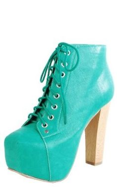 Leatherette Wooden Heel Booties GREEN,$19.50$19.50