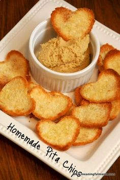 Homemade Pita Chips: separate the pita into two sections by ripping it open, cut into shapes (cookie cutter) or triangles, brush with garlic butter and sprinkle with salt. Bake at 400 for 7-8 minutes or until nicely browned. Cool and serve with your favorite dip.