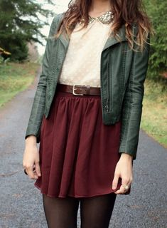 The Moptop I LOVE these colors together! Creme Top with sequin collar: Dahlia, Mossy Green leather Jacket: Black Sheep Clothing, Cranberry red flowy Skirt: American Apparel, Brown lace up Boots: Vintage, black tights and a brown belt