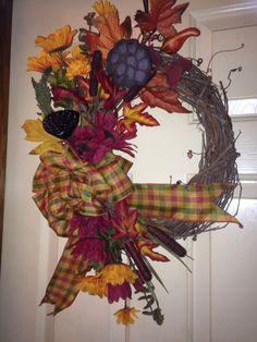 Fall wreath $25 Craft Sale, Wreaths, Fall, Crafts, Home Decor, Autumn, Manualidades, Decoration Home, Door Wreaths