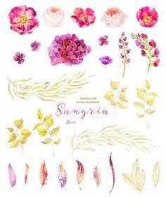 Sangria. Burgundy and gold floral Elements от OctopusArtis на Etsy