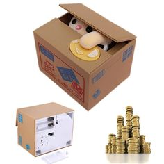 Creative Novelty Cat Steal Coins Piggy Bank Cent Saving Money Box Pot Case GiftFeatures         Description 1.Funny,practicalanddurable 2.Perfectgiftforchildrenandencouragethemtosavingcoins from the early age(Coins are...