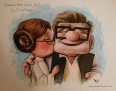 Han Solo and Princess Leia get the Pixar treatment. Illustration by James Hance.