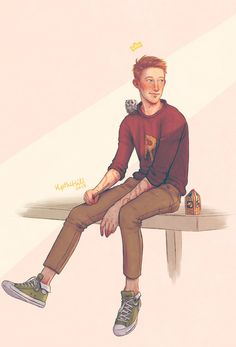 upthehillart: Pigwidgeon & The King Happy Birthday Ron! Harry Potter Fan Art, Harry Potter Fandom, Harry Potter Universal, Harry Potter World, Ravenclaw, Happy Birthday Ron, Hogwarts, Ron Et Hermione, Desenhos Harry Potter
