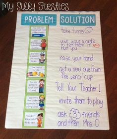 Perfect little anchor chart for the first week of school! :) Great way to discuss solving problems in the classroom! *Could make a team-based game out of this to build up our classroom community! Classroom Behavior, First Grade Classroom, Kindergarten Classroom, School Classroom, Classroom Management, Behavior Management, Classroom Ideas, Change Management, Future Classroom