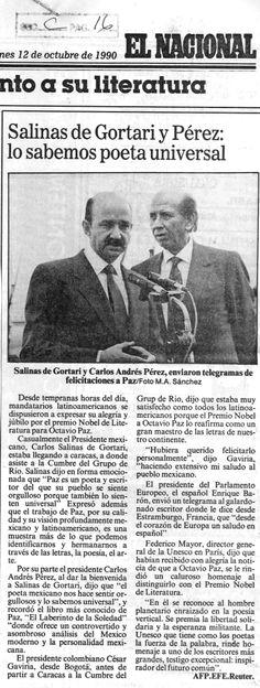 Carlos Andrés Pérez envió telegrama de felicitaciones a Octavio Paz por el Nobel. Publicado el 12 de octubre de 1990.