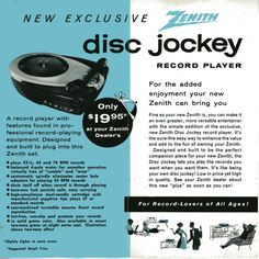 Zenith Disc Jockey brochure