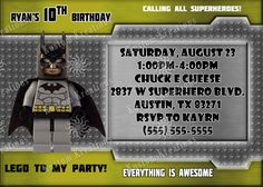 lego-batman-birthday-invitation Lego Batman Birthday, Superhero Birthday Invitations, Chuck E Cheese, All Superheroes, Everything Is Awesome, I Party, Rsvp, Birthday Ideas