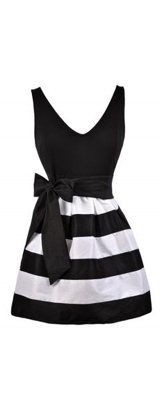 Lily Boutique Gina Black and White Stripe A-Line Dress, $32 Black and White…