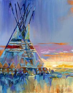 "Carol Hagan  ""Milky Blue Rain Cloud""  Print Giclee #22  Teepee Painting, Native American"