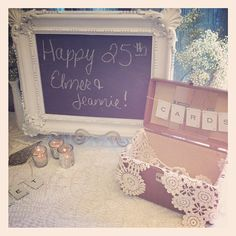 "signage with vintage train case- i could do this on the counter for ""mail"" where we usually have a pile of mail, papers, bills, etc 30th Wedding Anniversary, Anniversary Parties, Anniversary Banner, Vintage Train Case, Burlap Lace, Party Banners, Party Time, Party Party, Party Ideas"