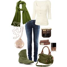 Casual: Cream, green and brown. I'm not sure about the addition of green but, I like it w/o the purse and scarf.