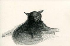 Cat original drawing  P023November2015 by kushun55 on Etsy
