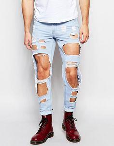 Mega cool Hoxton Denim Light Blue & Distressed Holes Skinny Jean - Blue Hoxton Denim Jeans til Herrer til hverdag og fest