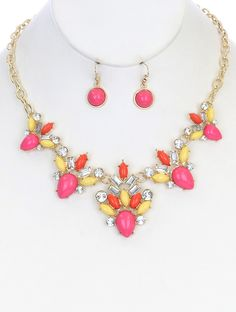 Necklace And Earring Set Color Lucite Stone Bib Crystal Stone Metal Setting Link Chain Fish Hook 16 Inch Long 2 Inch Drop