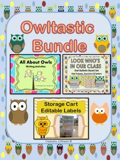 """Owltastic Bundle, Writing Activities, Editable Labels, Bulletin Board Set from 123kteach on TeachersNotebook.com -  (30 pages)  - This """"Owltastic"""" Bundle includes  terrific owl writing activities, edible labels and an owl themed bulletin board set to display your students photos."""