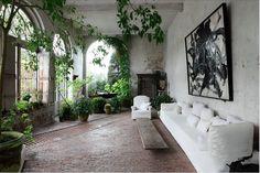 Belgian design guru Axel Vervoordt has houseplants at home in his castle ; Gardenista