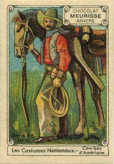 Cowboy d'Amerique - Les Costumes Nationaux. Collectable card