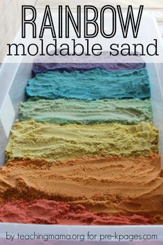 Moldable Rainbow Sensory Sand for Preschool and Kindergarten. Easy recipe that creates a wet sand texture, you kids will love playing and learning with this sand! Also includes a free printable Sensory Table, Sensory Bins, Sensory Activities, Sensory Play, Learning Activities, Preschool Activities, Rainbow Activities, Play Activity, Rainbow Crafts