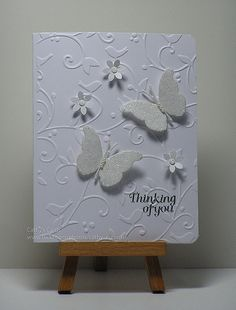 Cathys Card Spot: White on white butterflies