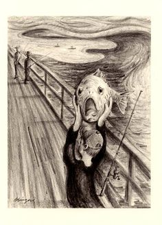 The SCREAM... Funny Fish pencil drawing Art Print by Barry Singer. $18.00, via Etsy.