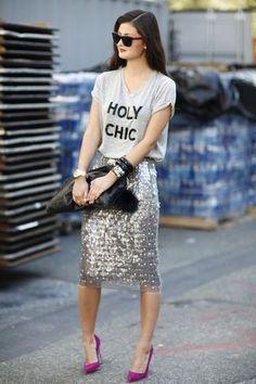 Women's Grey Print Crew-neck T-shirt, Silver Sequin Midi Skirt, Purple Suede Pumps, Black Leather Clutch