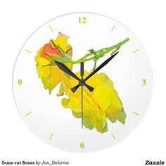 Some cut Roses Large Clock