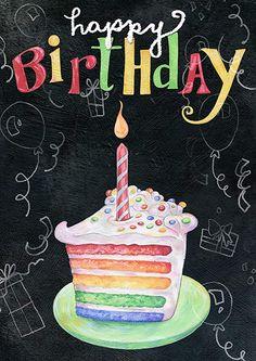 Happy Birthday Love Poems, Happy Birthday Chalkboard, Happy Birthday Rainbow, Happy Birthday Celebration, My Sister Birthday, Happy Birthday Images, Happy Birthday Greetings, Birthday Cake, Birthday Memes
