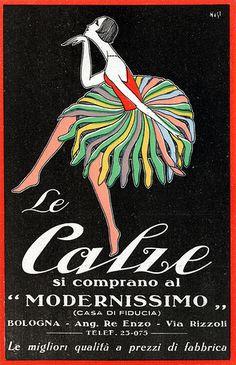 Postcard Le Calze si comprano al Modernissimo, Reklame, Art Deco Posters, Poster Prints, Vintage Advertisements, Vintage Ads, Vintage Italian Posters, Poster Vintage, Women Poster, Vintage Stockings, Postcard Art
